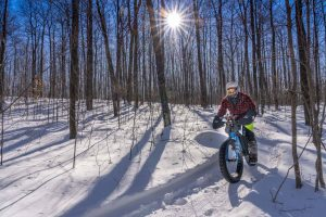 A person on a fat bike rides a groomed trail through the trees in the winter.