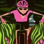 Graphic image of female mountain biker