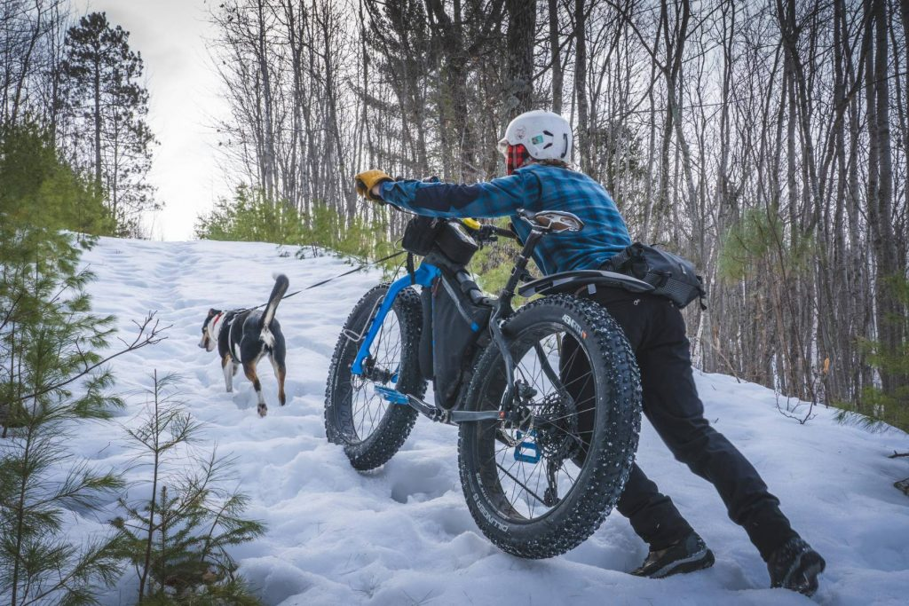 man pushing bike in snow up a hill with dog in front
