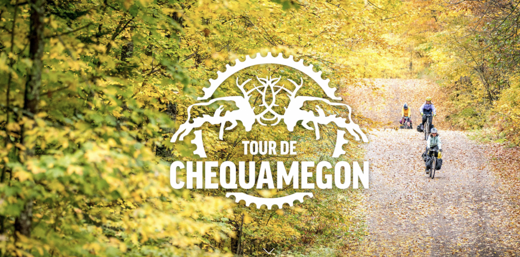 Tour de Chequamegon logo over image of riders on a gravel road in the fall