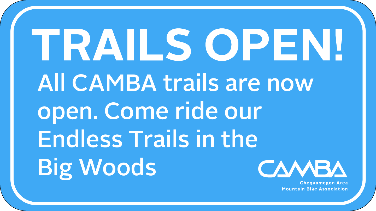 CAMBA Trails Open blue sign